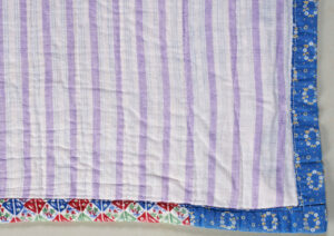 Quilt back showing binding